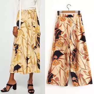 European printed casual wide leg trousers