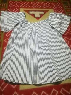 Offshoulder stripe top