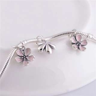 Code SS126 - Pink Flower 100% 925 Sterling Silver Charm, Chain Is Not Included, Compatible With Pandora