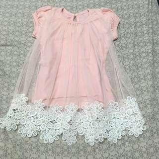 紗裙粉色蕾絲小花