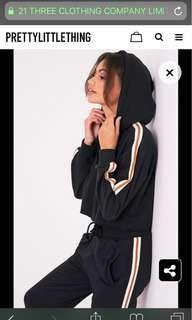 Black Cropped Hoodie Sweatshirt Striped Sleeves Pretty Little Thing