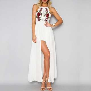 Doublewoot Inspired White Floral Halterneck Maxi Dinner Dress (Sale)