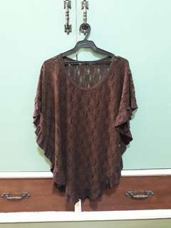 BROWN LACE TOP/COVER