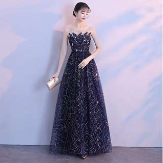 Galaxy Blue Shimmer Sequin Evening Gown (Rent)