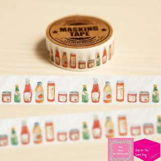 Set of 7m Decorative Bottles Washi Tape