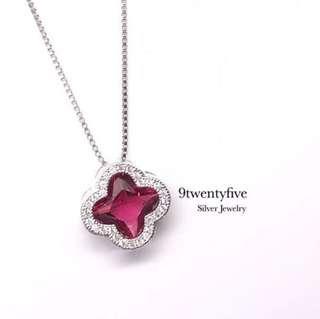 S925 Silver Elegant Crystal Clover Necklace