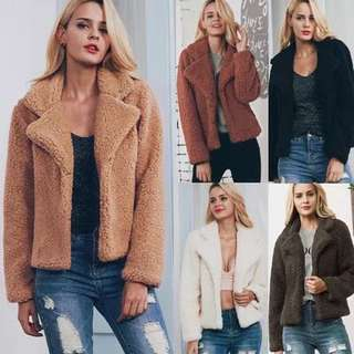(S~3XL) European and American foreign trade suit collar jacket short coat female fur coat