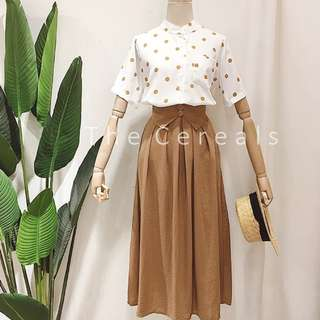 TC2260 Korea 2 Pieces Polka Dot Top + High Waist Belted Skirt (Yellow,Navy)