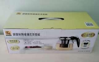 🚚 鍋寶耐熱玻璃花茶壺組