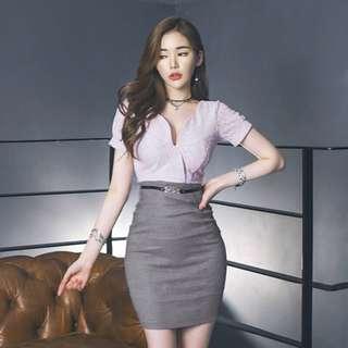 Lace V Neck Short Sleeve Bodycon Dress With Belt