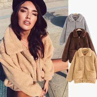 Women's loose lambskin coat Europe and America warm winter pockets lamb wool coat women