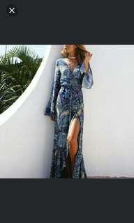 (In stock S) Sexy Summer Boho asymmetery hem dress.