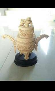 Rare & old antique ivory incense burner