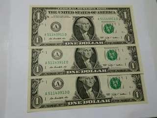 美金2009年1元(3張)A51143911D,A51143912D,A51143913D(大細A連號)
