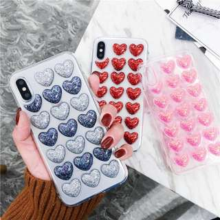 Glitter Heart iPhone Cases for 6 / 7 / 8 + / X