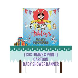 [ Customize ] Looney Tunes Baby Shower, Birthday Party, Kids Party Banner & [ Rental ] Banner Stand