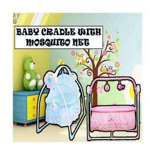 Baby cradle with mosquito net