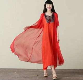 🚚 【雅比斯小鋪】《夏裝新款》《預購款》繡花洋裝 長版洋裝 民族風洋裝 絲麻