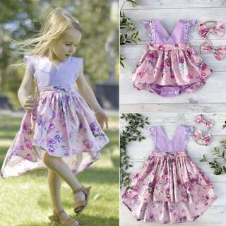 Toddler Kids Baby Girls Sister Matching Floral Jumpsuit Romper Dress Outfits Set