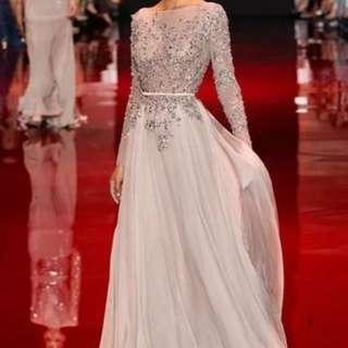 Elie Saab Inspired Bareback Dinner Dress (Rent) Grey Floral Sequin Long Sleeve Bridal Wear
