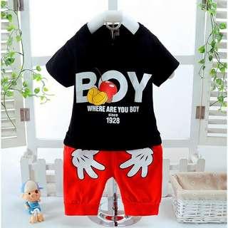 Stelan kaos T-shirt lengan pendek + celana panjang Denim gaya korea