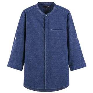 五分袖無領子襯衫 七分袖 圓領襯衫 中國風襯衫 薄襯衫 春夏襯衫 無領 袖長自由變換