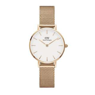 CLASSIC WHITE PETITE MELROSE GOLD 28MM LADIES WATCH DW00100219