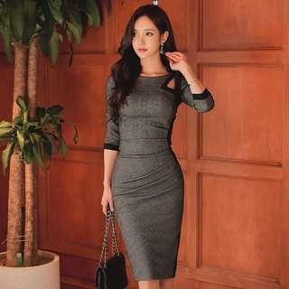 [Brand new] Slim pleated dress 修身褶皱中长款连衣裙
