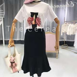 TC2260 Korea 2 Pieces Designer T-shirt + High Waist Mermaid Skirt (set)