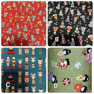 Japanese Dolls Fabric for customise tote bag, pencil case, pouch