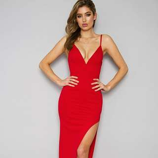 red formal dress with slit