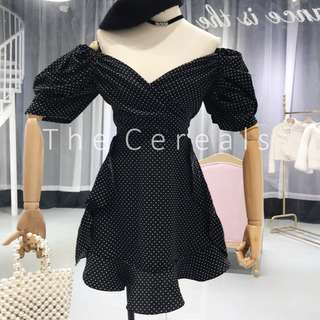 TC2261 Korea Polka Dot Bubble Sleeve Retro Dress (White,Black)