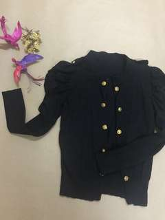 Black Sailor Cardigan with Princess-sleeve