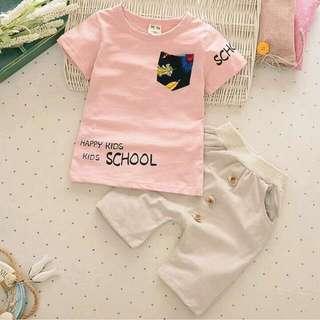 全新韓版竹節棉夏季兩件式兒童套裝