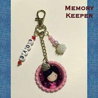 Handmade Key Chain / Bag Charm - Gorjuss Girl Love