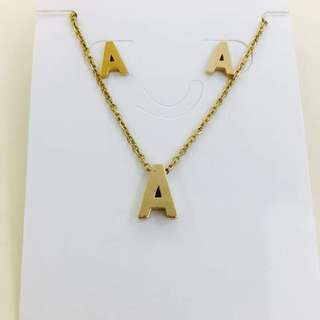 GOLD NECKLACE WITH EARRINGS (LETTERS)