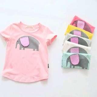 Girl baby simple casual cartoon elephant round neck short-sleeved T-shirt