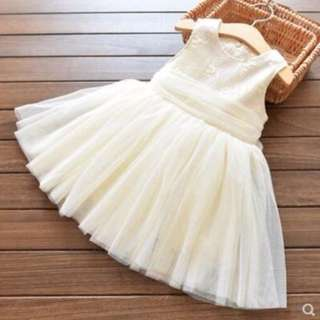 Girls multi-layer yarn sleeveless princess dress