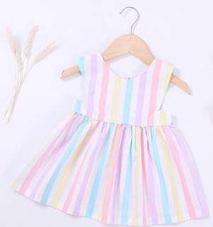 Cute Sleeveless Rainbow Stripe Dress