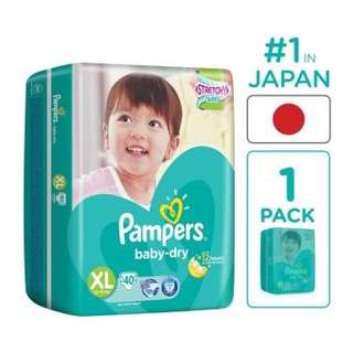 Pampers Baby Dry Diapers XL (40pcs)