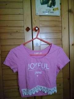 短版粉紅Joyful Love短袖T恤