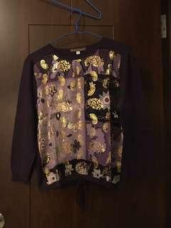 Purple gold silk top