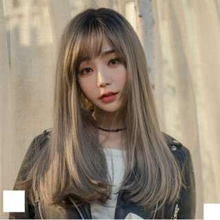 Korean Side Fringe Air Fringe Full Wig For Daily Use (Chocolate Brown/Natural Black/Ombre Brown/Ombre Grey)