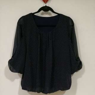 Dark blue polka dot top
