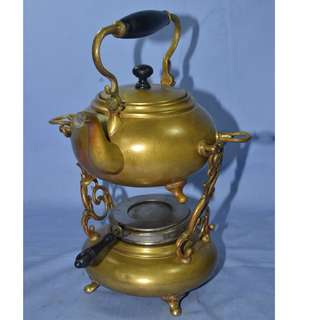 ANTIQUE VINTAGE SSC USA BRASS TEAPOT & WARMER SET