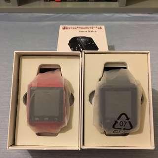 Smart watch,智慧型手錶x2,一黑一紅,對錶
