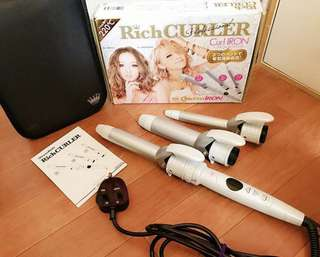 日本多功能電捲髮棒內扣捲髮器三用可換頭梨花蛋捲棒神器套裝