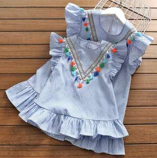 Girls Stripe Short Sleeve Dress
