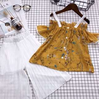 Girl Set Word Collar Strapless T-shirt Top Floral Short Sleeve Shirt