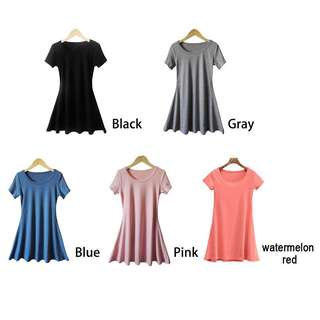 PO Plain Dress With Sleeve